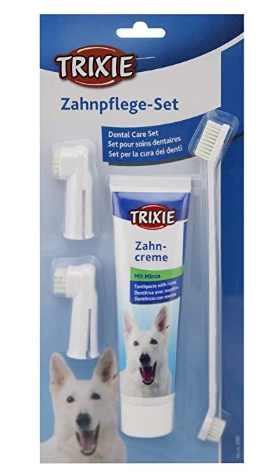 cepillo y pasta de dientes para perros trixie